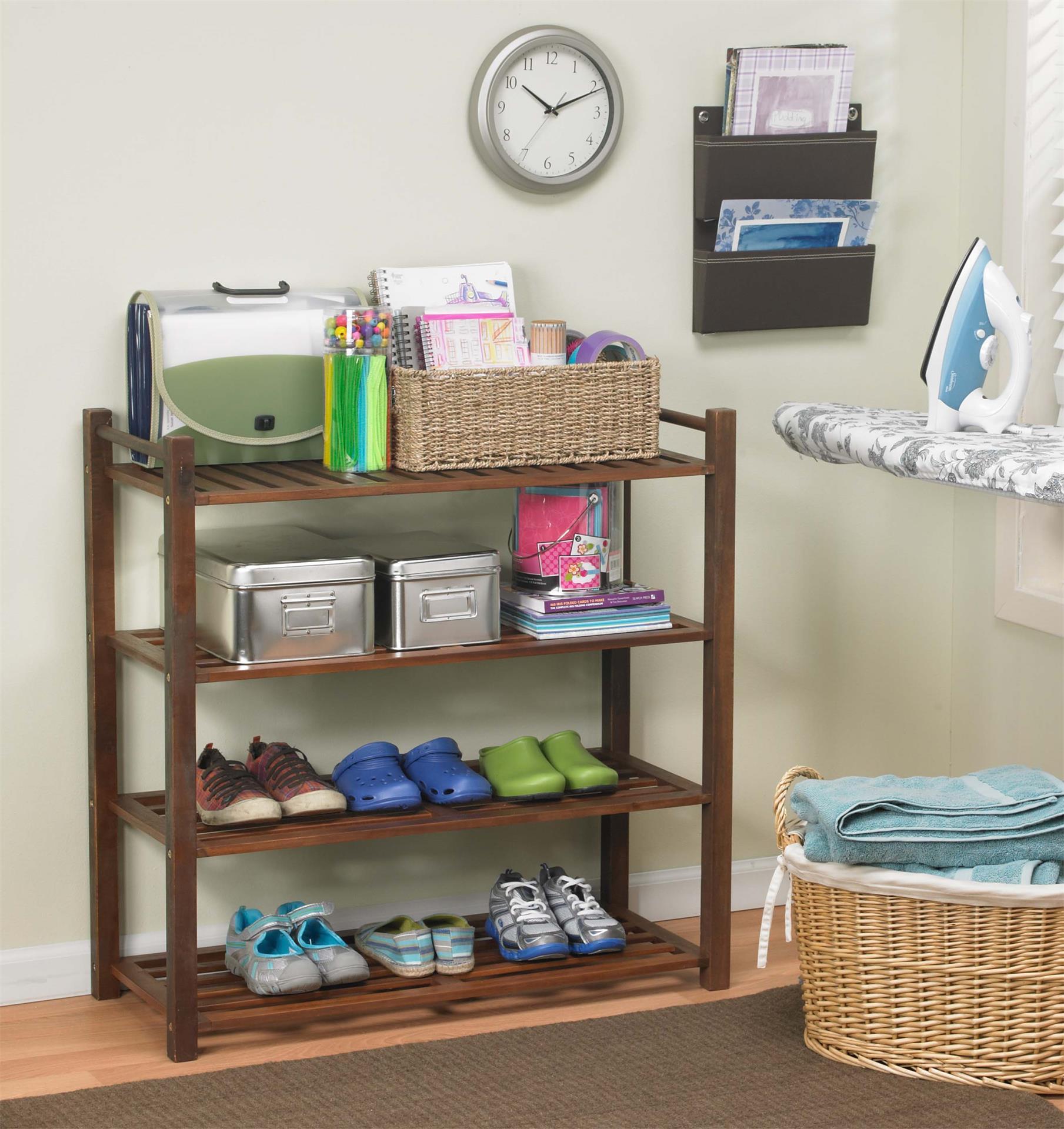 Eco 4-Shelf Indoor Wooden Shoe Rack