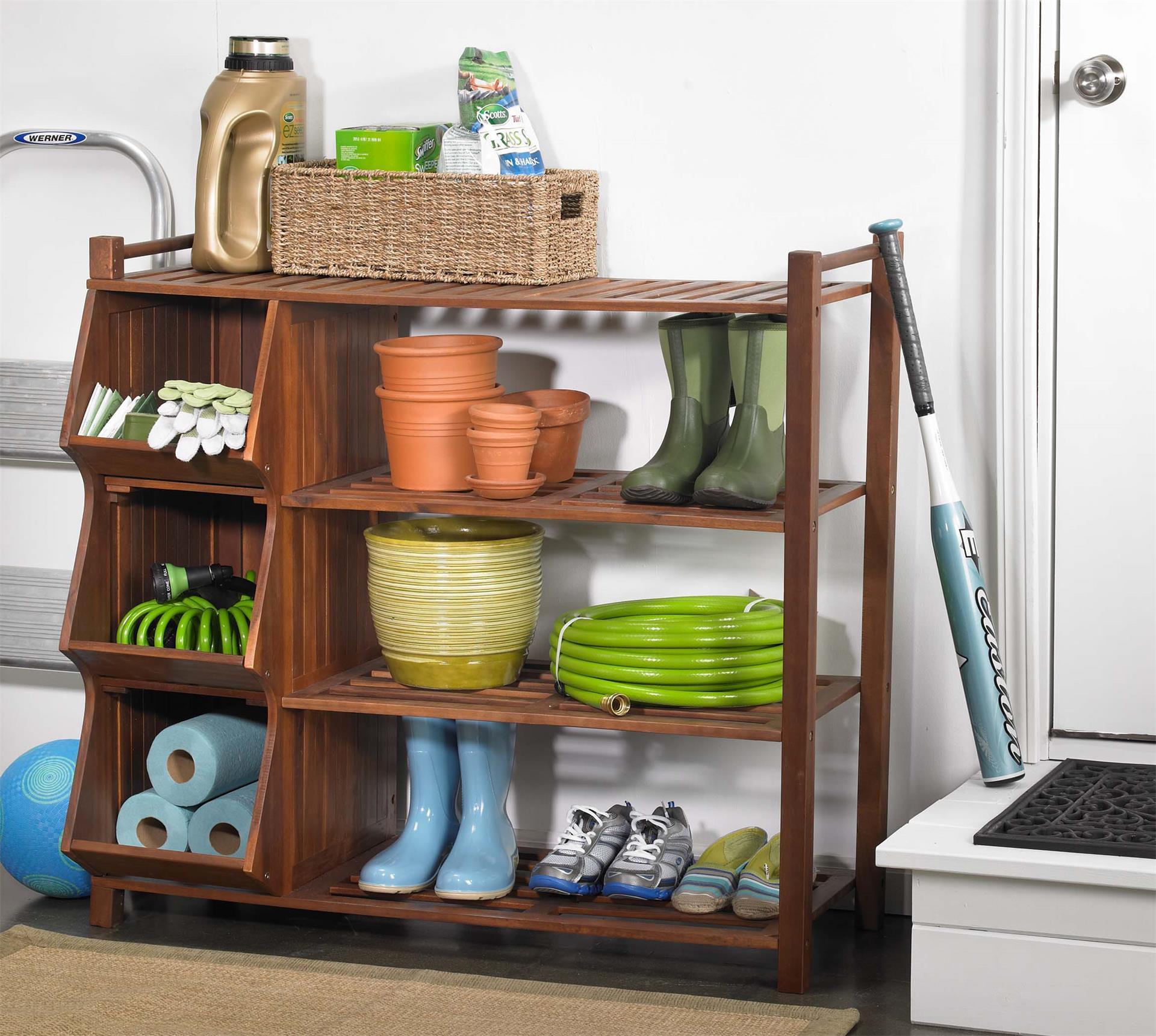 4-Shelf Indoor Shoe Rack With 3 Storage Cubbies