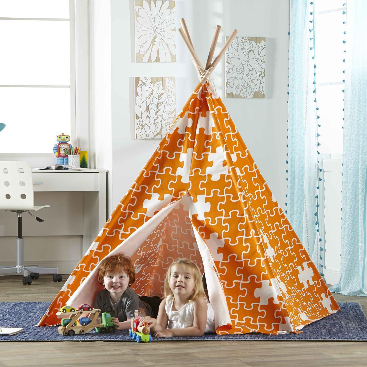 Kids Teepee Play Tent with Puzzle Print