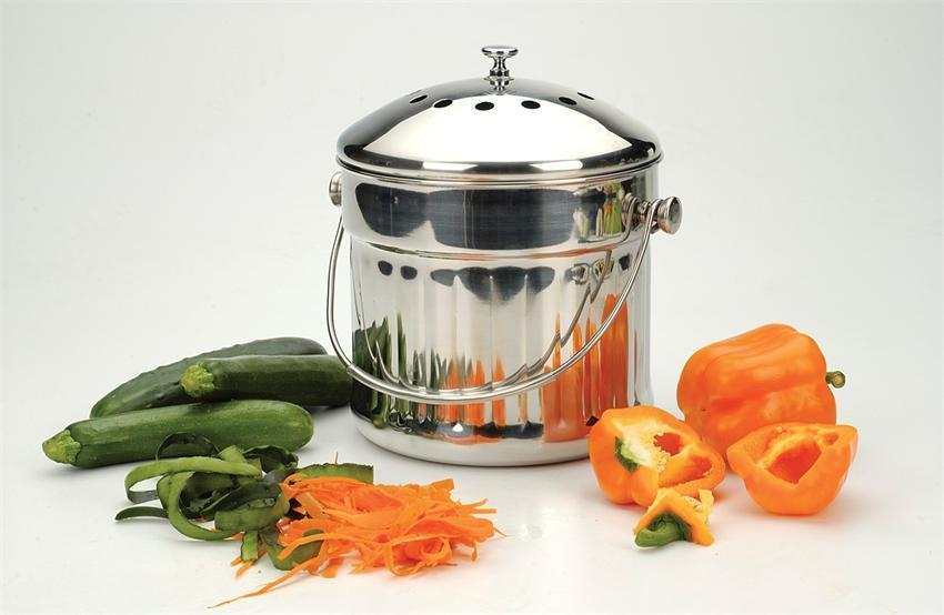 Endurance Jumbo Stainless Steel Compost Pail Extra Large